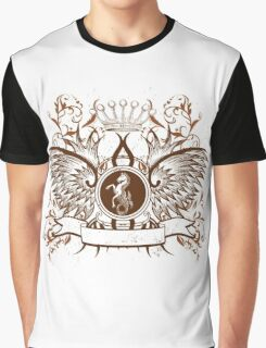 Vintage Crown, horse and Eagle cute Design Graphic T-Shirt