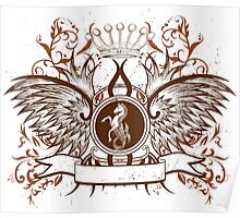 Vintage Crown, horse and Eagle cute Design Poster