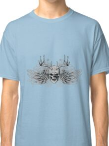 zombie Scary Skull with antlers and wings Classic T-Shirt