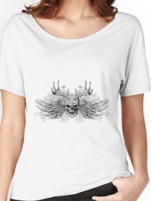 zombie Scary Skull with antlers and wings Women's Relaxed Fit T-Shirt