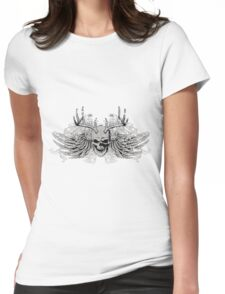 zombie Scary Skull with antlers and wings Womens Fitted T-Shirt