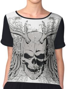 zombie Scary Skull with antlers and wings Chiffon Top