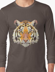 Tiger in Blurry and Digital Design Long Sleeve T-Shirt