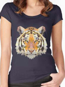 Digital and Cartoonish Tiger design Women's Fitted Scoop T-Shirt