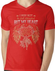 NATIVE AMERICAN I MAY NOT BE FULL BLOODED BUT MY HEART 100% NATIVE Mens V-Neck T-Shirt