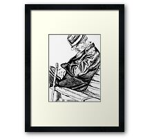 Pen and Ink Drawing - Sleepy Framed Print