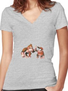 Donkey kong and Diddy Kong Women's Fitted V-Neck T-Shirt