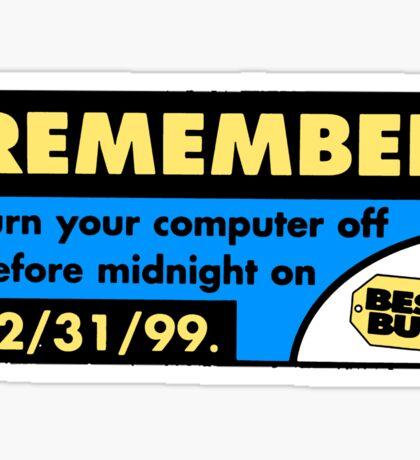 Best Buy Y2K Reminder Sticker