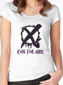 Icon For Hire XO Black Text Women's Fitted Scoop T-Shirt