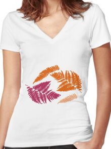 Polypodióphyta leaves Women's Fitted V-Neck T-Shirt