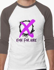 Icon For Hire XO Black Text Pink X Men's Baseball ¾ T-Shirt