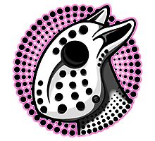 Bull Terrier Hockey Mask Pink Graphic Photographic Print