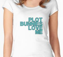 Plot Bunnies Love Me - Blue Women's Fitted Scoop T-Shirt