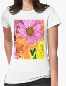 Gerber Daisy Floral Pattern Womens Fitted T-Shirt