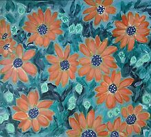 Acrylic painting, orange daisy flowers and green leaves by naturematters