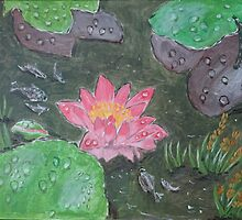Acrylic painting, beautiful pink waterlily flower by naturematters