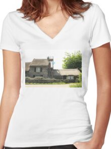 Re-thatching the Roof Women's Fitted V-Neck T-Shirt