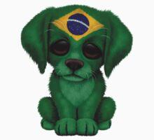 Cute Patriotic Brazilian Flag Puppy Dog One Piece - Long Sleeve