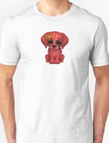 Cute Patriotic Chinese Flag Puppy Dog Unisex T-Shirt