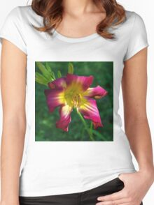 Raspberry and gold daylily flower - Hemerocallis 'Liberty Banner' Women's Fitted Scoop T-Shirt