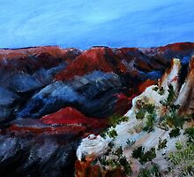 Nevada Desert Landscape Acrylics On Canvas Board by JamesPeart