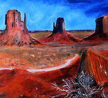 Utah Desert Landscape Acrylics On Canvas Board by JamesPeart