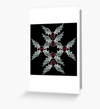 Gothic Blood Stone Bat Wings Greeting Card