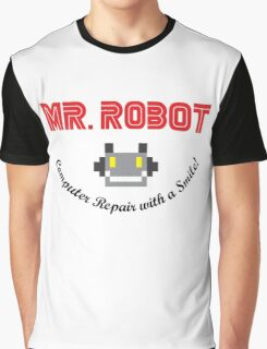 Mr Robot Computer Repair Smile Graphic T-Shirt