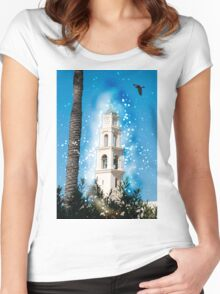 Computer Generated Israel, Jaffa, the belfry of the St Peter church and Monastery Women's Fitted Scoop T-Shirt
