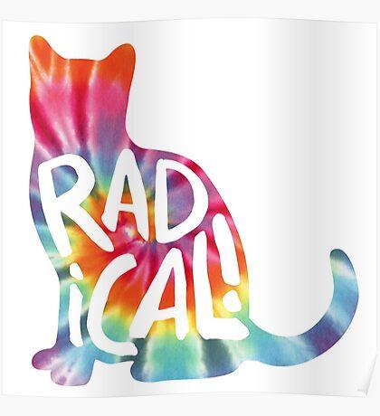 Radical Cat Tie Dye Poster