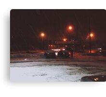 8:23, Just got out into a blizzard Canvas Print
