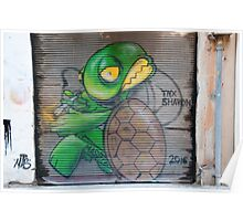 Tortoise with a joint Graffiti wall art Poster