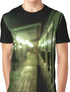 Old train at night in empty station green square Hasselblad medium format film analog photograph Graphic T-Shirt