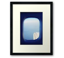 Plane wing in blue sky analogue 35mm film ra-4 darkroom photo Framed Print