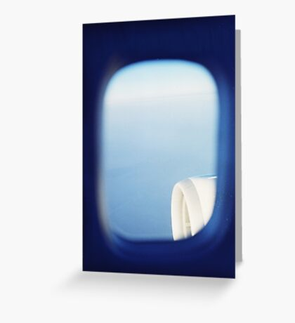 Plane wing in blue sky analogue 35mm film ra-4 darkroom photo Greeting Card