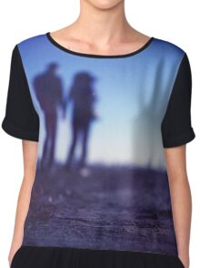Romantic couple walking holding hands on beach in blue Medium format color negative film photo Chiffon Top