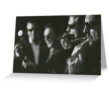 Men in wedding smoking cigars black and white analog silver gelatin photo Greeting Card