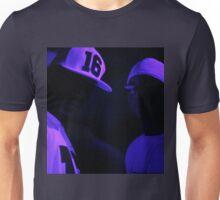 Hip hop rap gangster rappers singers at night in dark nightclub bar lit in pink black light wearing baseball caps Unisex T-Shirt