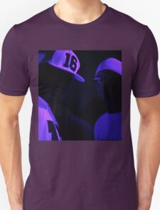 Hip hop rap gangster rappers singers at night in dark nightclub bar lit in pink black light wearing baseball caps Unisex T-Shirt