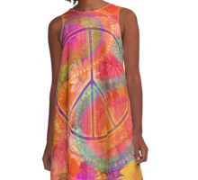 Hippie Chic Flowers Peace A-Line Dress