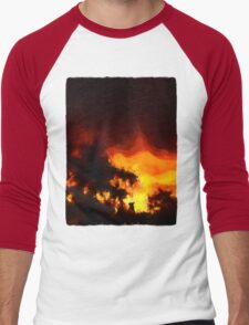 Weeping Tree Silhouette and Sunset 2 Men's Baseball ¾ T-Shirt