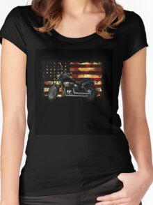 Union Flag, Stars and Stripes, Motorcycle Women's Fitted Scoop T-Shirt