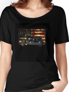Union Flag, Stars and Stripes, Motorcycle Women's Relaxed Fit T-Shirt