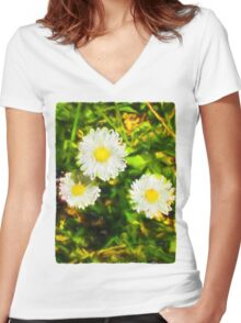 Three Daisies Women's Fitted V-Neck T-Shirt