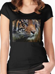 Sumatran Tiger Wildlife Big Cat-Lover Women's Fitted Scoop T-Shirt