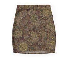 Elegantes braun-goldenes Blumen Design Mini Skirt