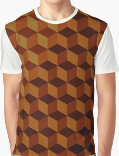 Geometric Brown Pattern Graphic T-Shirt