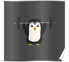 Penguin Weightlifting Poster