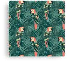 Tropical Jungle - Parrot in Jungle Leaves Canvas Print