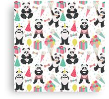 Panda Party Pattern Collection - Birthday Canvas Print